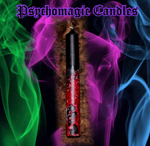 PSYCHOMAGIC COLOUR-CANDLE (SCHWARZ-ROT, XL)